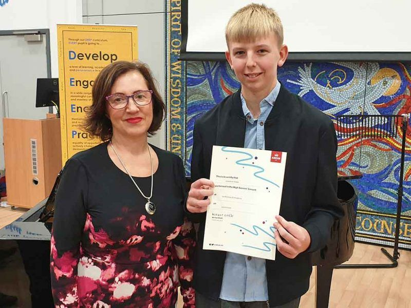 Anna and Lawrie with certificate
